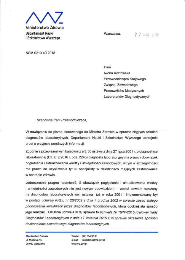 Odpowiedź Ministerstwa Zdrowia na stanowisko KZZPMLD – ciągłe szkolenie diagnostów laboratoryjnych