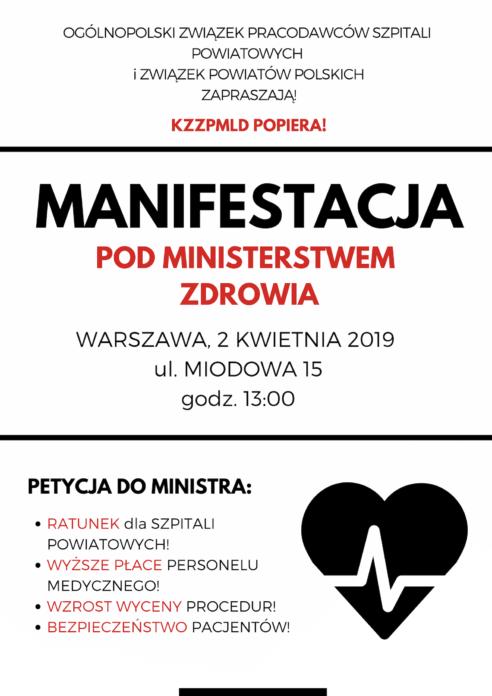 2019-04-02 Zaproszenie na MANIFESTACJĘ pod Ministerstwem Zdrowia