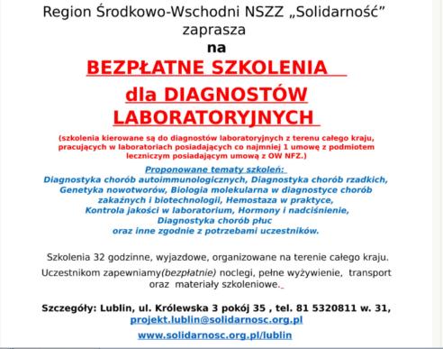 2019-03-09 Bezpłatne szkolenia dla pracowników laboratoriów