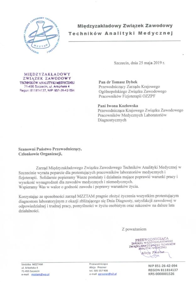 2019-05-26 Międzyzakładowy Związek Zawodowy Techników Analityki Medycznej przesyła POPARCIE dla GŁODUJĄCYCH