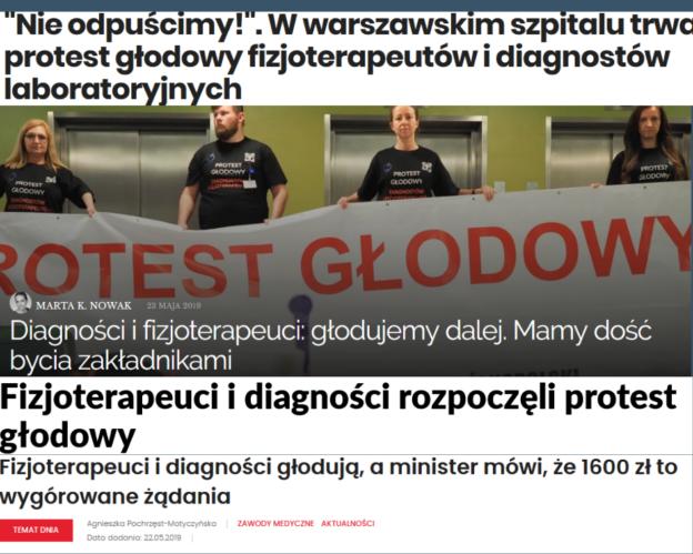 2019-05-25 PROTEST GŁODOWY DIAGNOSTÓW i FIZJOTERAPEUTÓW w MEDIACH
