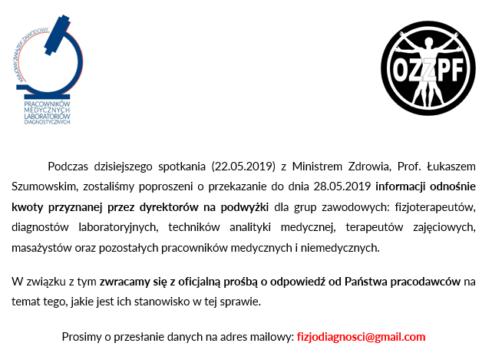 2019-05-22 ROZMOWY z Ministerstwem BEZ EFEKTÓW