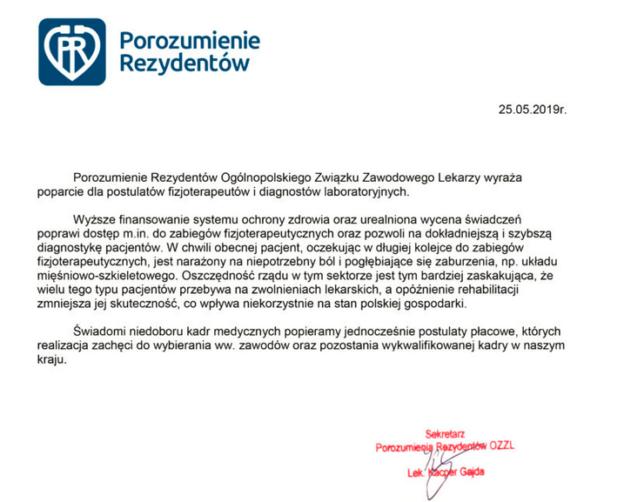 2019-05-25 Porozumienie Rezydentów OZZL przesyła POPARCIE dla GŁODUJĄCYCH