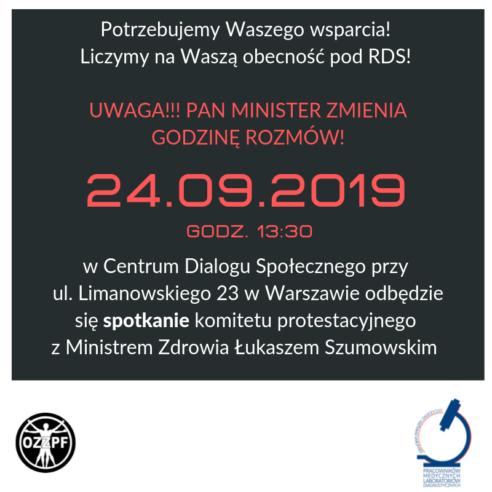 24 września 2019 – zmiana godziny rozmów ministra i związków zawodowych