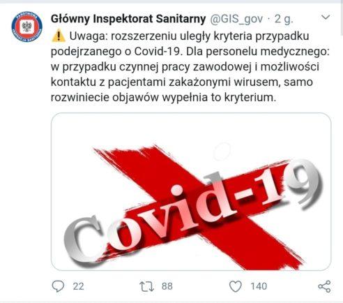 Zmiana kryteriów diagnostycznych #koronawirus #COVID-19 dla personelu medycznego