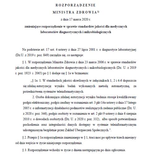 Bulwersujące rozporządzenie Ministra Zdrowia w sprawie zdalnej autoryzacji wyników badań!