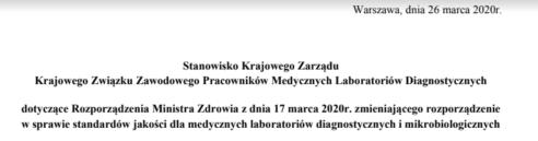 2020-03-26 Stanowisko Zarządu KZZPMLD w sprawie rozporządzenia umożliwiającego zdalną autoryzację wyników badań