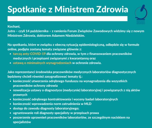 14.10.2020 – spotkanie z nowym Ministrem Zdrowia
