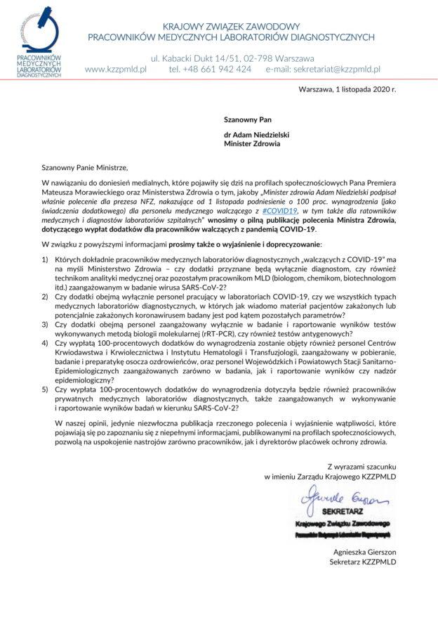 2020-11-01 dodatki za pracę przy zwalczaniu epidemii COVID-19 dla pracowników laboratoriów