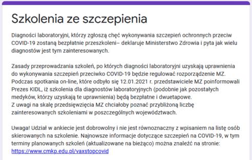Poszerzenie kompetencji diagnostów laboratoryjnych