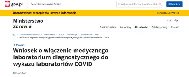 Zmiany w wytycznych dotyczących laboratoriów COVID-19